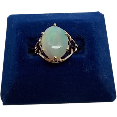 Rose Gold Ring with 2.17ct Oval Opal