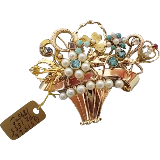 14 karat Stick Pin Collection Brooch Basket w/ Zircon