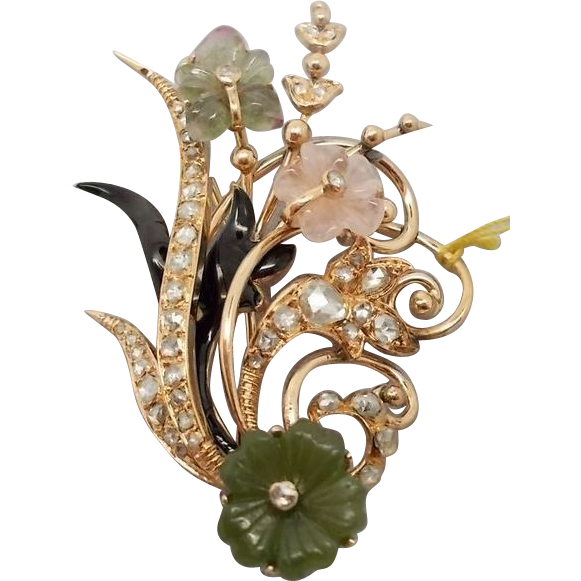 14 karat Brooch with Carved Flowers and Diamonds