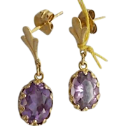 14 karat Oval Amethyst Earrings