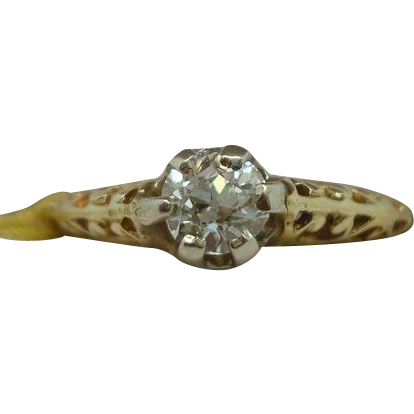 Beautiful Gold Filigree Diamond Ring .38 carat