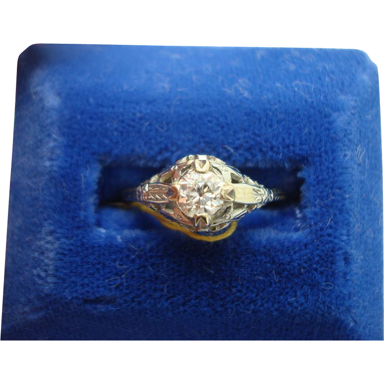 18 karat Filigree Diamond Ring .37 ct.