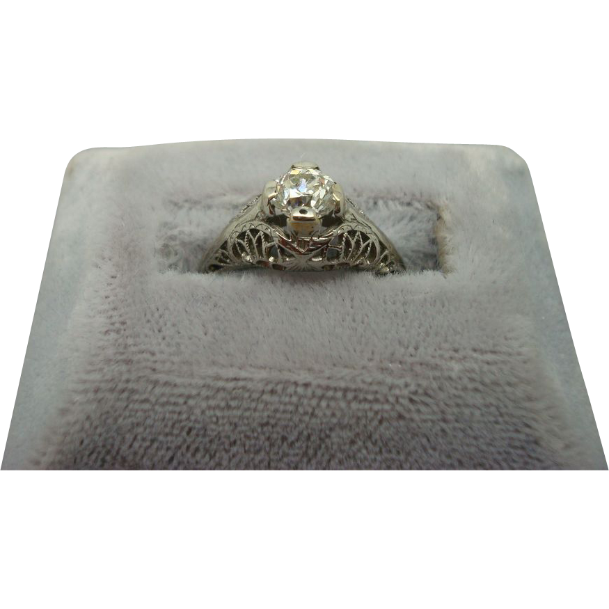 18 karat .45ct Diamond Filigree Ring