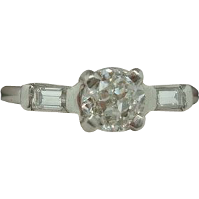 Platinum .67ct Diamond Ring with Baguette Diamonds