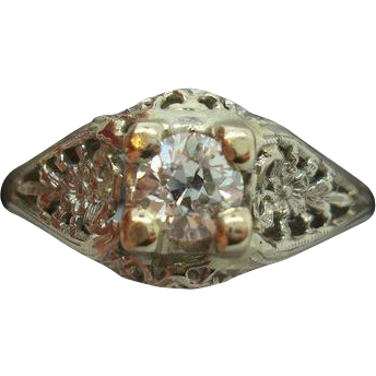 18 karat Filigree .36ct Diamond Ring