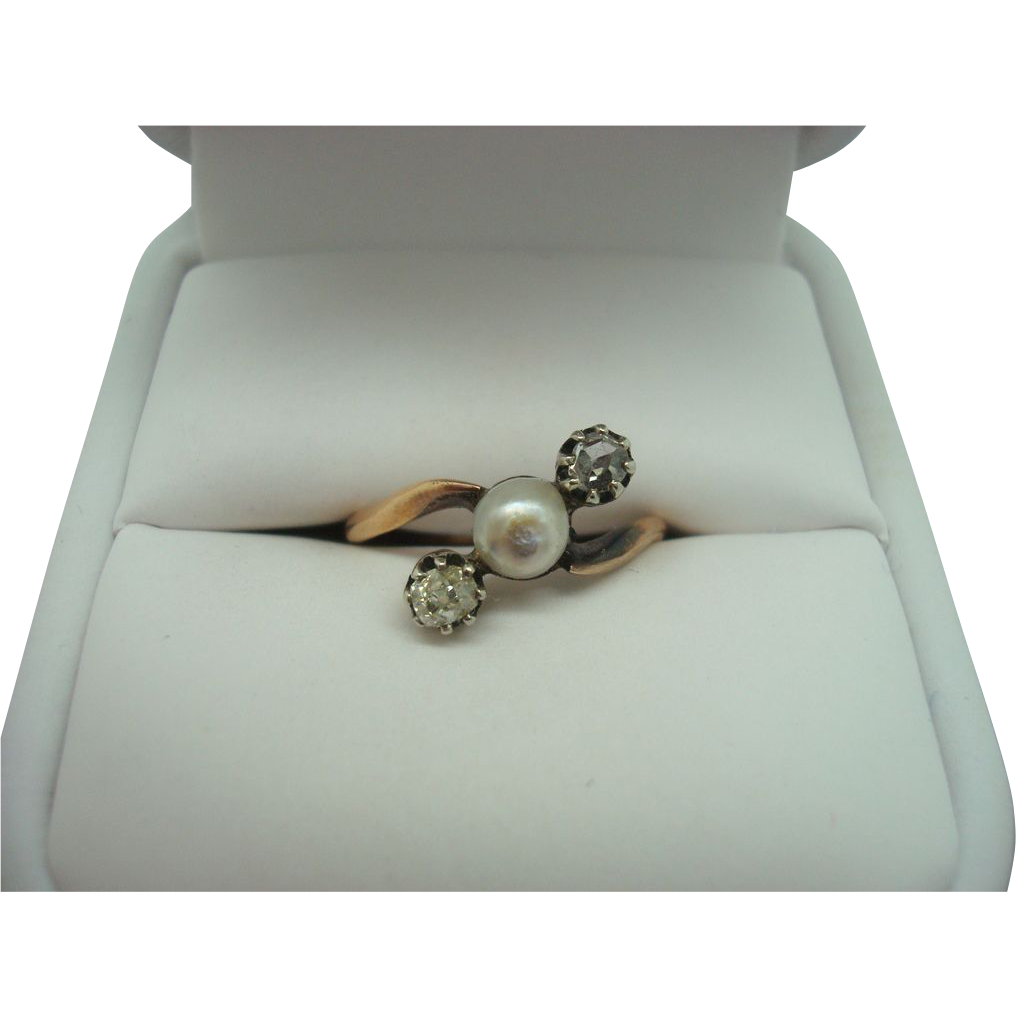 Baroque Pearl Ring with 2 Diamonds