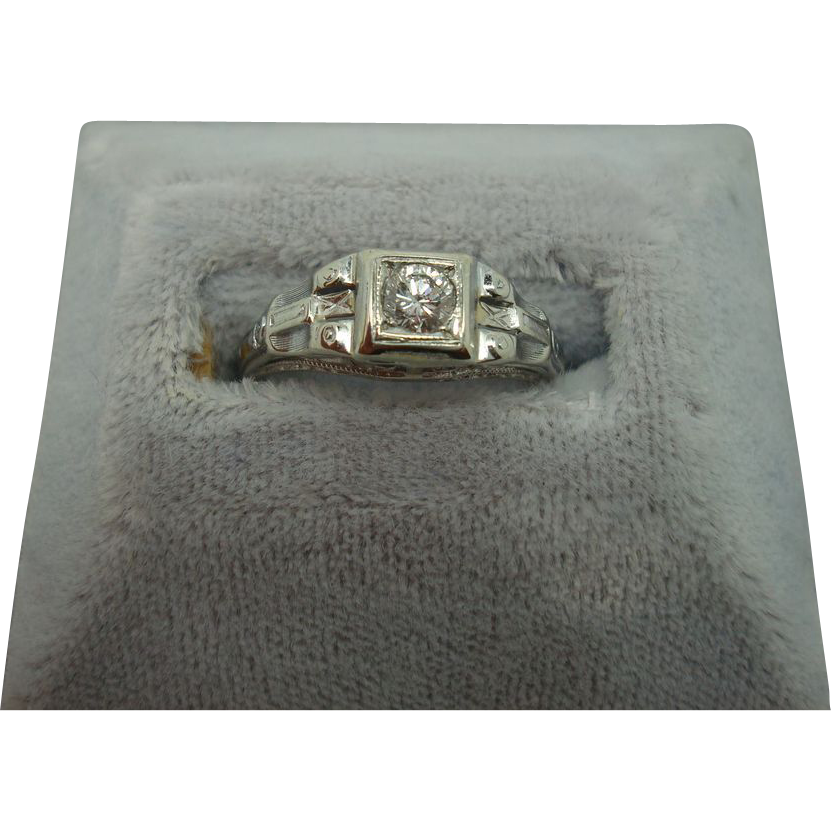 18 karat Filigree .22ct Diamond Ring