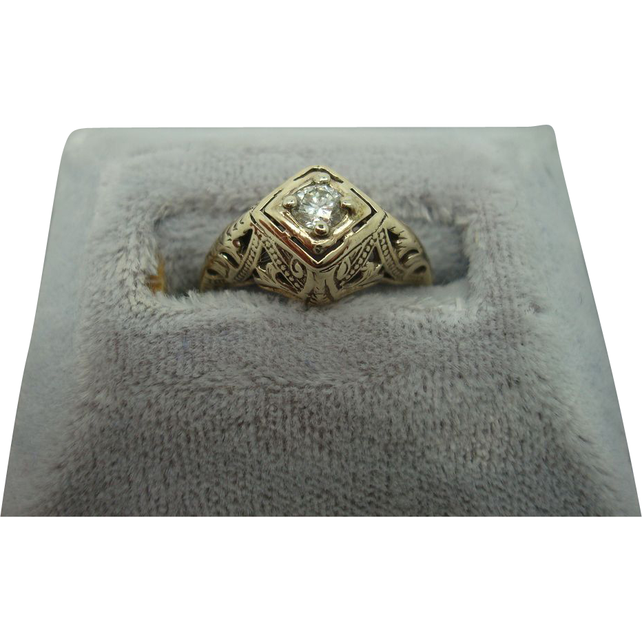 14 karat Filigree .17ct Round Diamond Ring