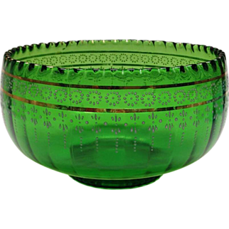 Green Tiny Optic Master Berry Bowl by Jefferson Glass Company