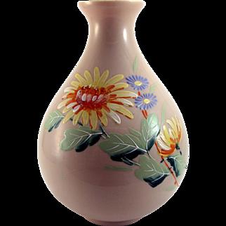 Kralik Opaque Peach Hand Painted Art Glass Vase