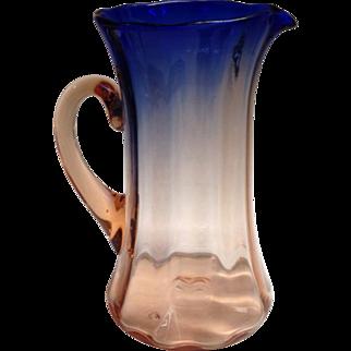 Wilhelm Kralik Söhne Czechoslovakia Peach Pink Cobalt Art Glass Tankard Pitcher