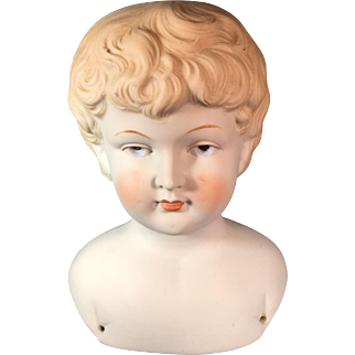 German Porcelain Bisque Shoulder Head - Boy