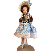 """4 1/2"""" Miniature all bisque doll with Pierrot clown by Pat Boldt"""