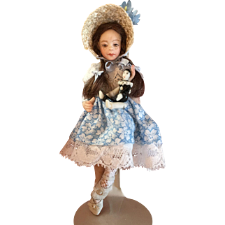 "4 1/2"" Miniature all bisque doll with Pierrot clown by Pat Boldt"