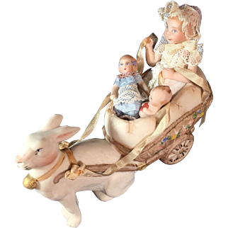 "3 1/2"" Porcelain Rabbit Cart by Pat Boldt"