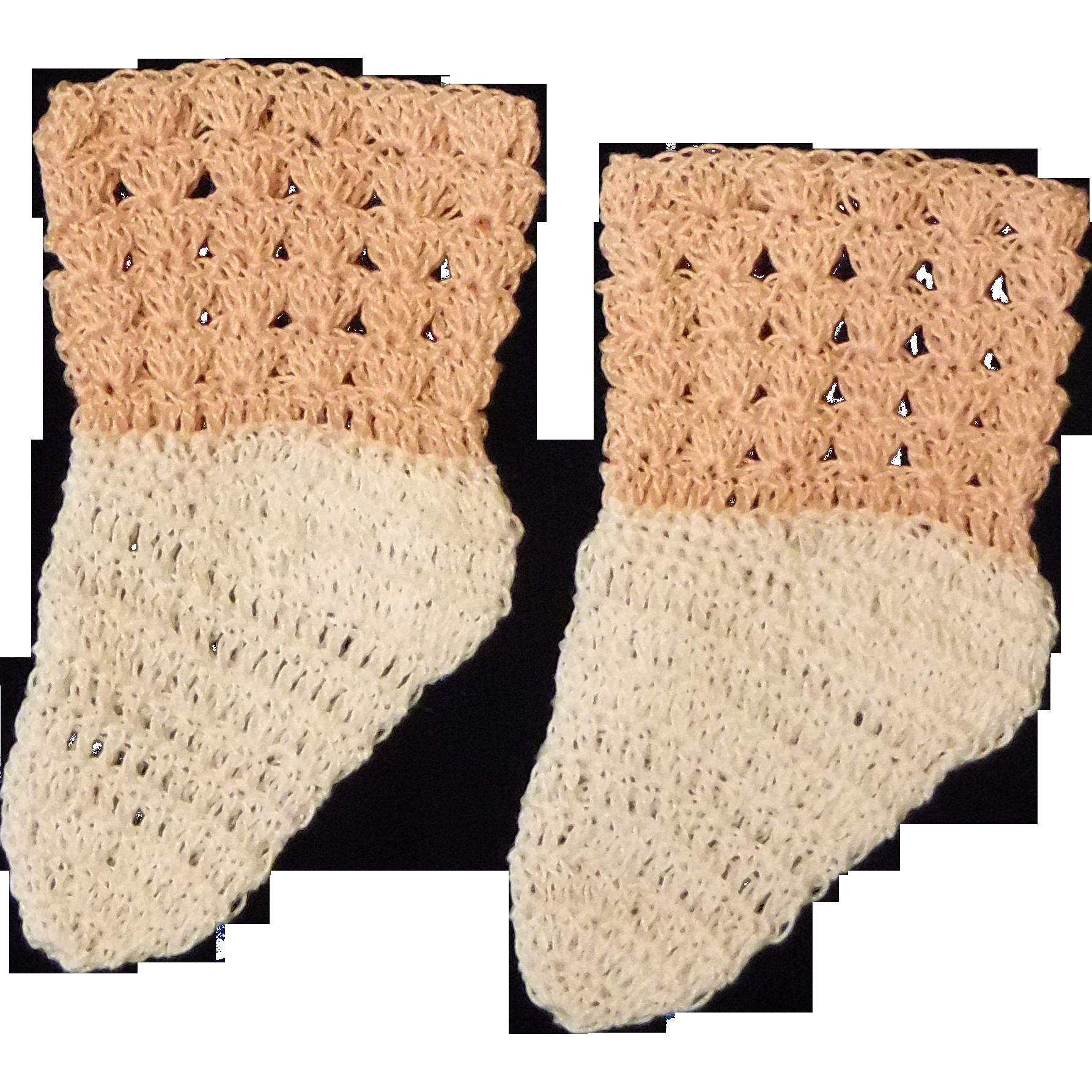 Vintage Crocheted Doll Socks