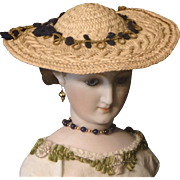 Straw French Fashion Doll Hat