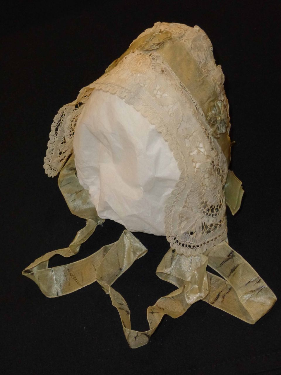 Blue Silk Trimmed Lace Bonnet