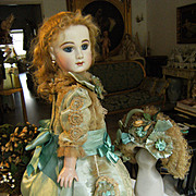 Beautiful French Aqua Dress and French Hat for a doll from 48cm or 18,9 inches.