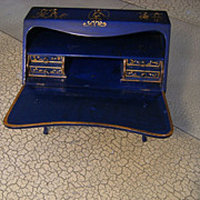 Very rare chique, gorgeous extreme beautiful BLUE laquer Chinoiserie Doll's buro.