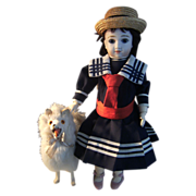 Lovely all Marine dress with antique straw hat for doll 34cm ir 13,5 inch.