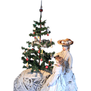 Beautiful antique German Christmas tree, with hand blown glass ornaments.