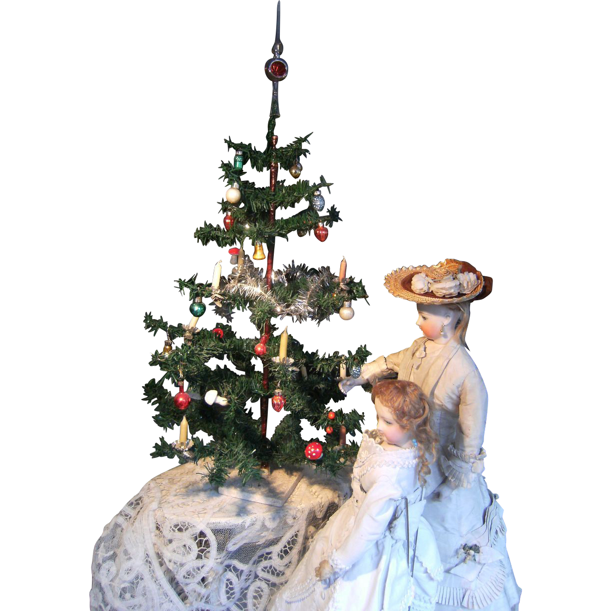 Beautiful antique German Christmas tree, with hand blown ...