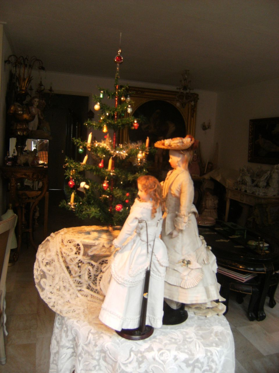 beautiful antique german christmas tree  with hand blown