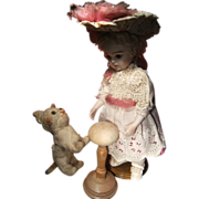 Beautiful antique French  dress and hat 34 cm or 13,4 inch doll.