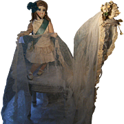 ON HOLD FOR JEANNIE....Beautiful antique Bridal veil, with tiara from wax flowers.
