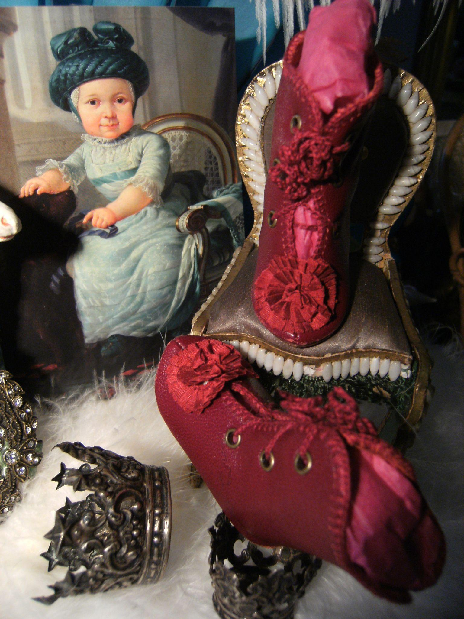 Beautiful Red leather dolls shoes with fine silk rosette.