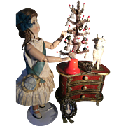 Little goose feather antique Christmas tree, for your fashion doll, or other little dolly...