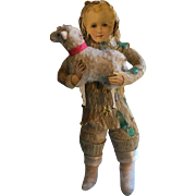 Very very special cotton and crépe paper Christmas ornament , it's a boy with a lamb.........