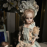 Beautiful antique French made Bru or Jumeau dress, for a 34cm or 13,4 inch doll.