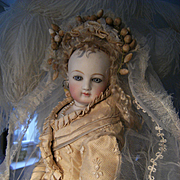 @@@ON HOLD for Emma. Her Royal Highness,antique Haute Couture Bridal dress, tiara and long long train + veil........