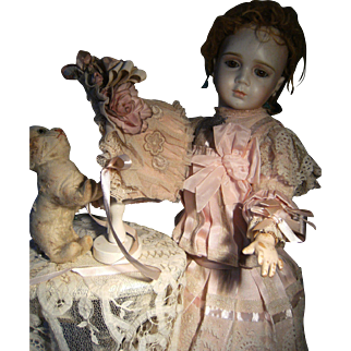 Beautiful French doll dress in pink silk satin for antique doll 52cm or 20.5 inch.