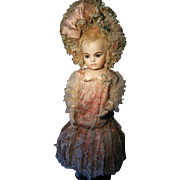 Look.........,.such a beautiful dress and hat for your antique doll....