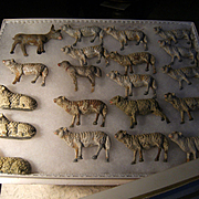Nineteen  beautiful  antique sheep and 1 donkey in a beautiful box.