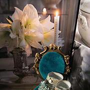 Beautiful blue satin shoes for your antique doll, Jumeau, Bru or others..