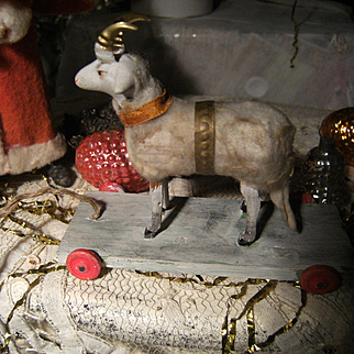 So beautiful, a little antique German putz  sheep for your French fashion doll.