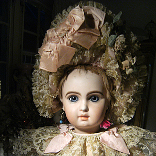 Look at me...........in my  amazing French dress and hat for your antique doll, from 64 cm or 22,5 inches....