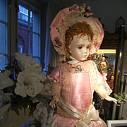Look !  What a wonderful French pink satin dress and also a French hat, for a doll from 52cm. /20,5 inch