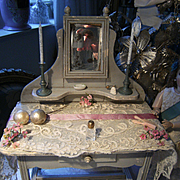 Beautiful antique dressing table for your dolls , lovely color....
