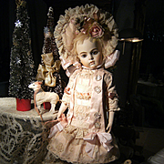 Beautiful desirable French BeBe dress for Jumeau, Steiner Bru or other doll from 19 inches