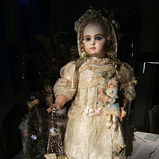 Amazing  French antique  dress and hat for French BeBe Jumeau, Bru, Steiner, from  62cm or 24,5 inch