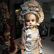 Beautiful  French BéBé dress and a French hat, for a 43cm or 17 inch antique doll, Jumeau, Bru or Steiner.
