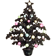Lisner Christmas Tree Pin Brooch Black Japanned Pastel Rhinestones - Rare!