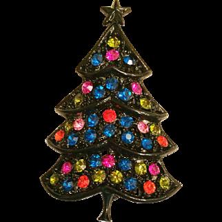 Hedy H in Heart Black Japanned Multi Color Rhinestone Christmas Tree Pin Brooch