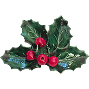 Sandor Christmas Holly Leaves Berries Pin Brooch Enamel