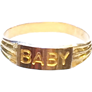 """10K Yellow Gold Baby Ring Spells """"BABY"""" Unisex Size 1-3/4"""